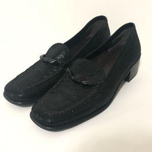 Stuart Weitzman glitter sparkly loafers black